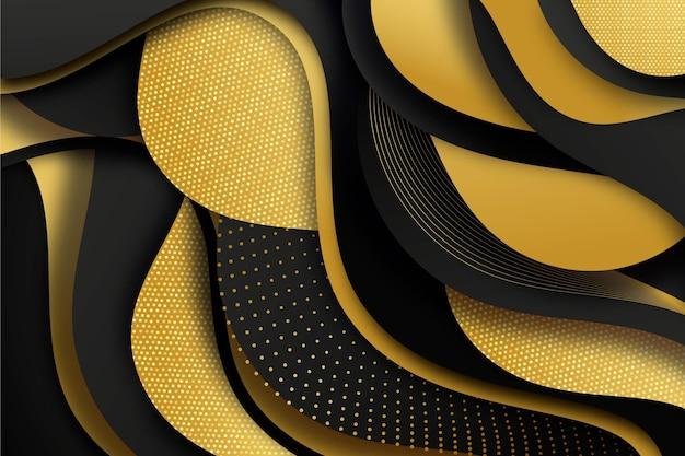Realistische zwarte achtergrond met gouden texturen
