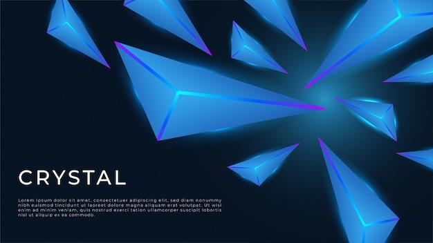 Realistische zwarte achtergrond met kristal en neonlicht, glow in the dark.