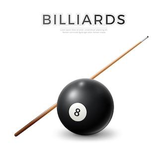 Realistische zwarte biljartbal met keu. vector snooker, pool symbolen.