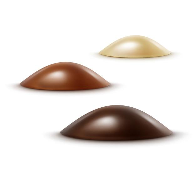 Realistische zwarte donkere bittere witte melkchocoladesuikergoed