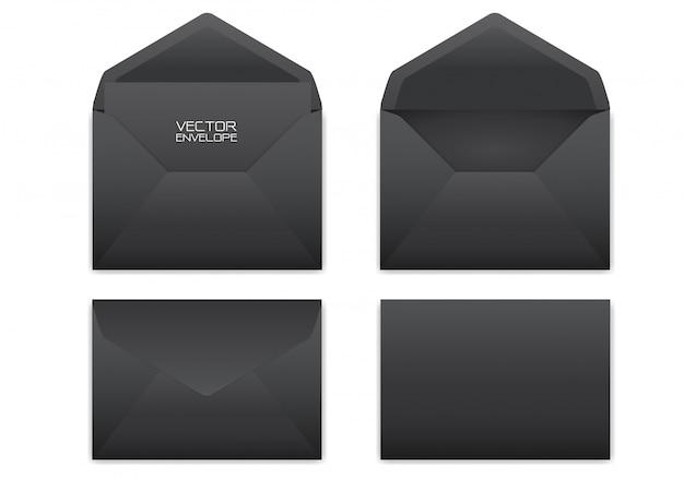 Realistische zwarte envelop die op witte achtergrond wordt geplaatst.