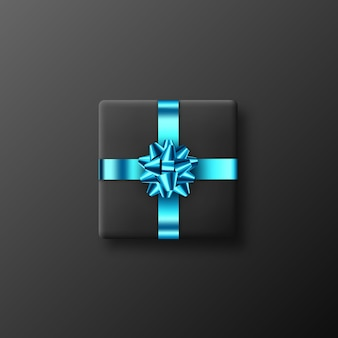 Realistische zwarte geschenkdoos met glinsterende blauwe strik en lint. decoratief ontwerpelement voor vakanties. vector illustratie.