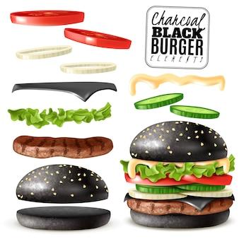 Realistische zwarte houtskool hamburger-elementen instellen