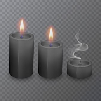 Realistische zwarte kaarsen, brandende kaarsen en gedoofde kaarsen
