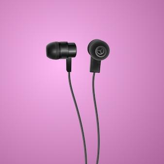 Realistische, zwarte koptelefoon op kleurrijke achtergrond,