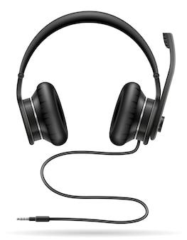 Realistische zwarte koptelefoon op wit