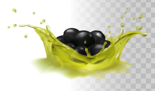 Realistische zwarte olijven op olie