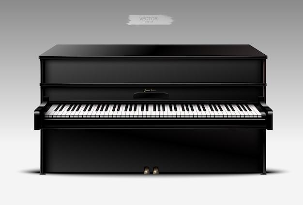 Realistische zwarte piano op een lichte achtergrond.