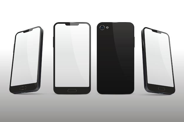Realistische zwarte smartphone in verschillende weergaven