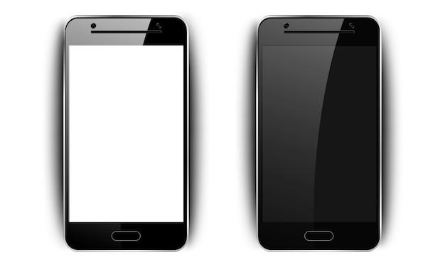 Realistische zwarte smartphone. telefoon met schaduw, camera en schittering, mobiele telefoon met een leeg scherm voor uw ontwerp op geïsoleerde achtergrond