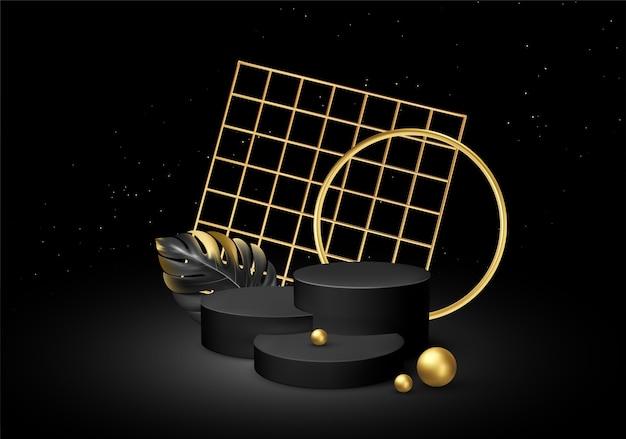 Realistische zwarte sokkel op een zwarte zijden achtergrond met gouden elementen palmbladeren.