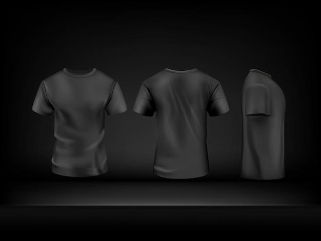 Realistische zwarte t-shirt ingesteld op donkere achtergrond. vectormodel. sport blanco shirt sjabloon voor-, achter- en zijaanzicht, mannen kleding voor mode kleding realistisch uniform voor reclame textiel print.