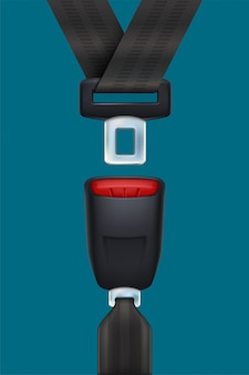 Realistische zwarte veiligheidsgordel op blauw