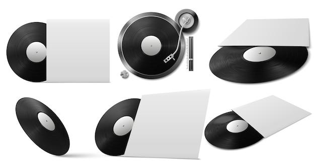 Realistische zwarte vinylschijf met hoes vanuit verschillende hoeken