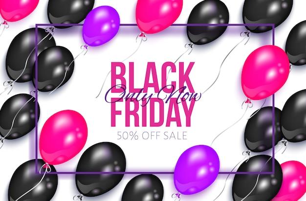 Realistische zwarte vrijdag banner met ballonnen