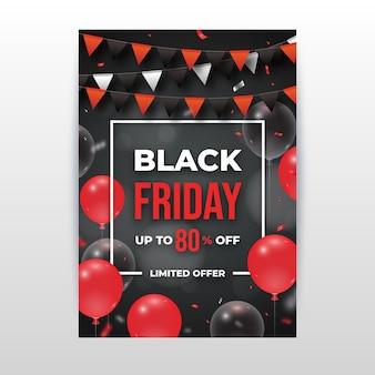 Realistische zwarte vrijdag flyer-sjabloon