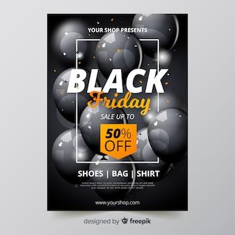Realistische zwarte vrijdag flyer