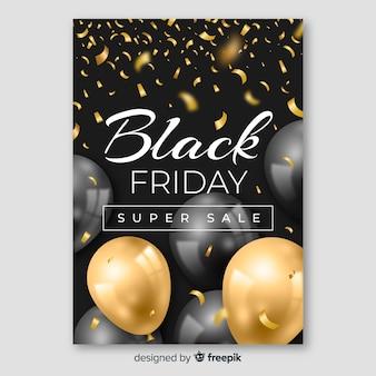 Realistische zwarte vrijdag folder sjabloon