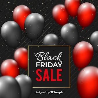 Realistische zwarte vrijdag met ballonnen