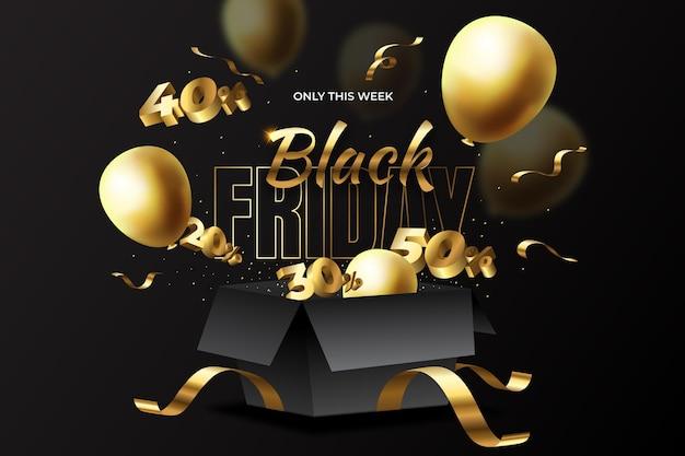 Realistische zwarte vrijdag verkoop achtergrond