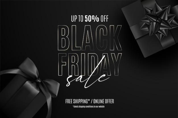 Realistische zwarte vrijdag verkoop banner met cadeautjes