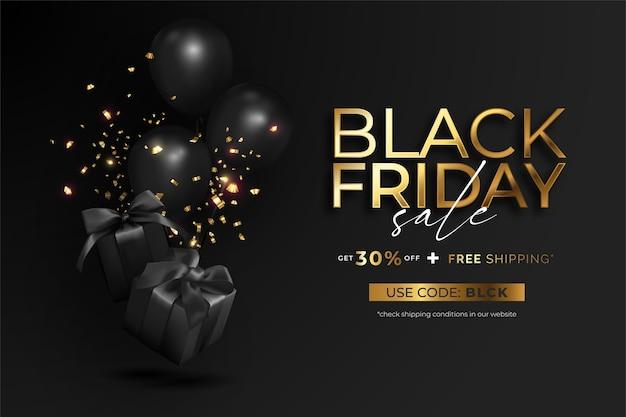 Realistische zwarte vrijdag verkoop banner met geschenken en ballonnen