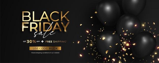 Realistische zwarte vrijdag verkoop banner met gouden confetti