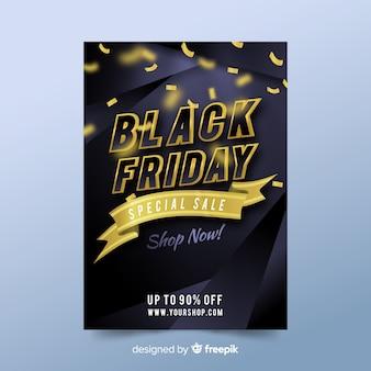 Realistische zwarte vrijdag verkoop flyer