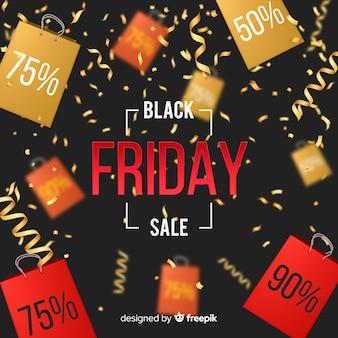 Realistische zwarte vrijdag verkoop