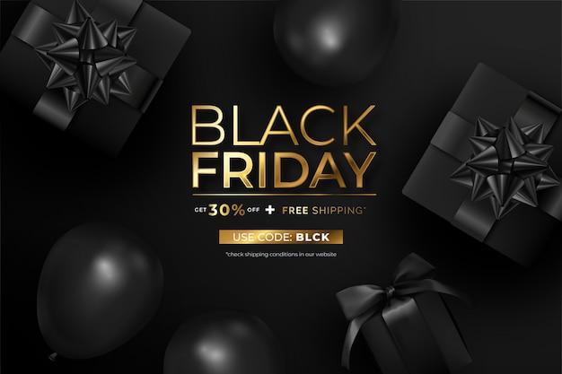 Realistische zwarte vrijdagbanner met cadeautjes en ballonnen