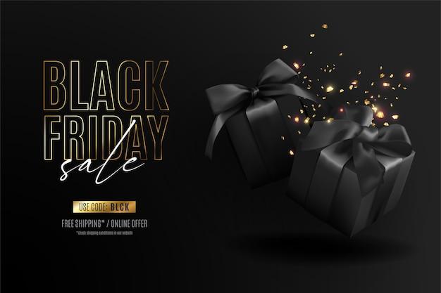 Realistische zwarte vrijdagbanner met cadeautjes en confetti