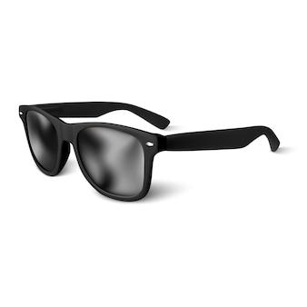 Realistische zwarte zonnebril op witte achtergrond. illustratie.