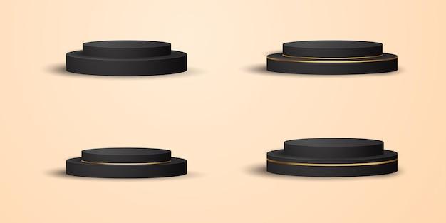 Realistische zwartgouden productpodium showcase set