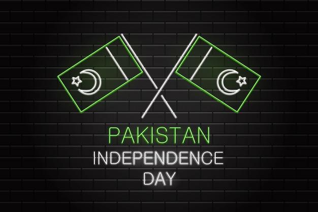 Realitic lichtreclame van 14 augustus pakistan independence day voor decoratie op de muur achtergrond.
