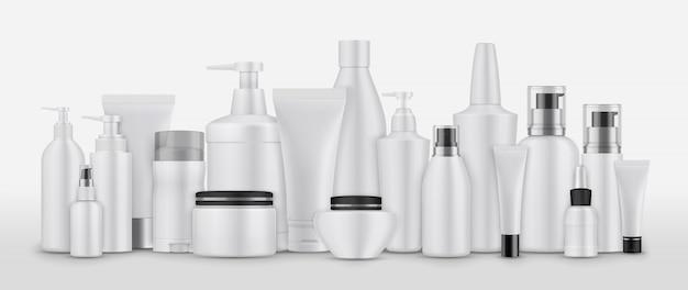 Realsitische cosmetische pakketten instellen collectie