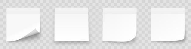 Realystic vastgestelde stoknota die op witte achtergrond wordt geïsoleerd. post-it notities collectie met schaduw