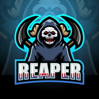 Reaper schedel mascotte esport logo ontwerp