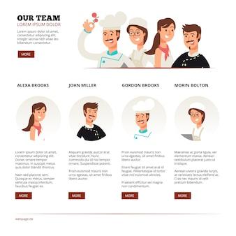 Reataurant café-team. teamwerk vector concept met platte karakters