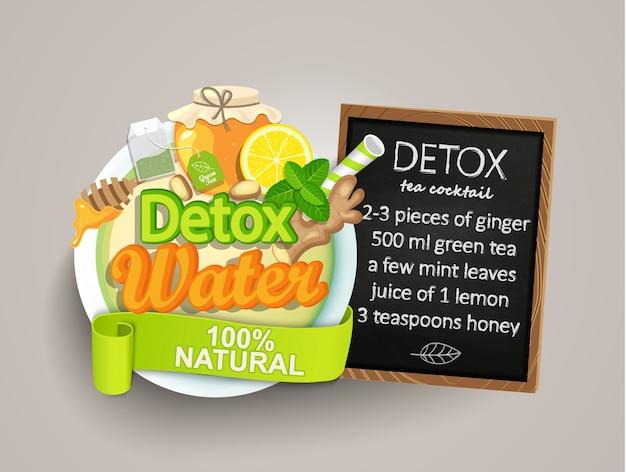 Recept detoxcocktail-thee, citroen, gember, honing, munt.