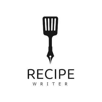 Recept schrijver logo ontwerpsjabloon, koken logo