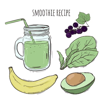 Recept smoothie gezond eten drank vector illustratie set
