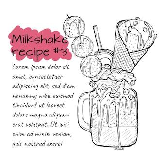 Recept van milkshake, smoothie met koekjes, ijs, fruit en bessen.
