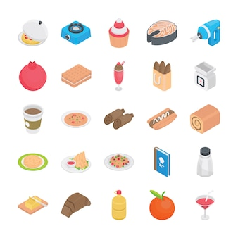 Recepten plat pictogrammen