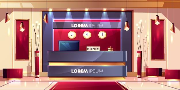 Receptenteller of bureau in de lobby van het luxehotel of de cartoon van het bedrijfsbureauzaal