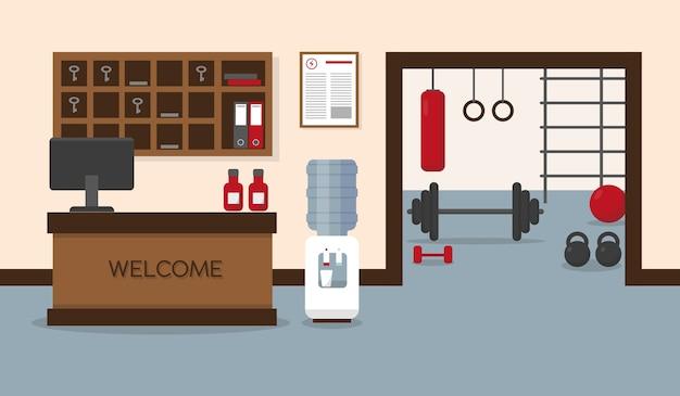 Receptie in het fitnesscentrum. sportschool interieur met fitnessapparatuur.