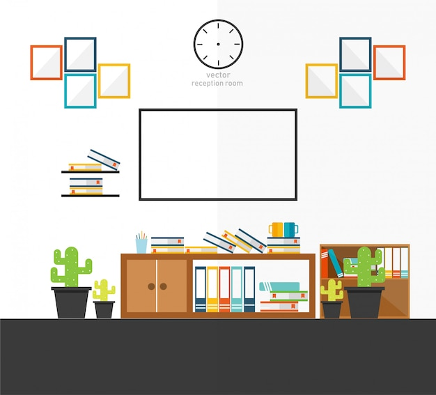 Receptie kamer in huis tv ontwerp vectorillustratie