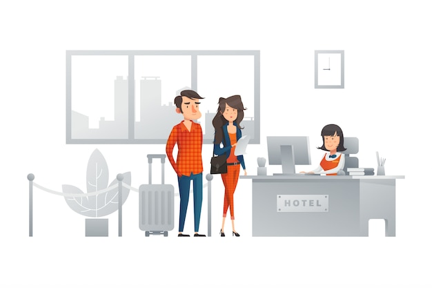 Receptionist illustratie concept
