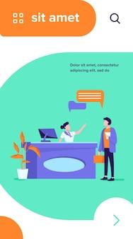 Receptioniste baan vectorillustratie. klanten raadplegen manager bij de receptie