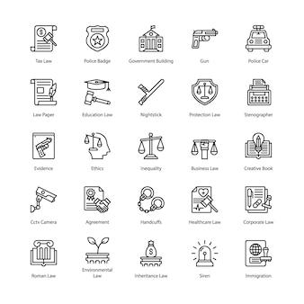 Recht en rechtvaardigheid icons set