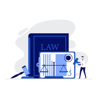 Recht en rechtvaardigheid illustratieconcept met mensenkarakter die zich dichtbij schaal van rechtvaardigheid bevinden, rechterhamer en ondertekend wettelijk contract.